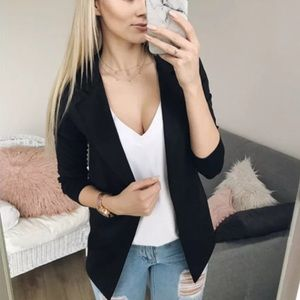 Jackets & Blazers - Black career work long sleeve blazer jacket